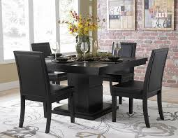 Pedestal Dining Table Set Cicero 5235 54 Modern 5pc Black Pedestal Dining Table Set Vinyl Chairs