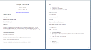 Curriculum Vitae Format For College Students Simple Cv Format For