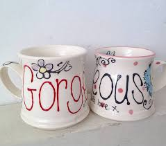 ... Hand Painted Floral Mugs. View Larger