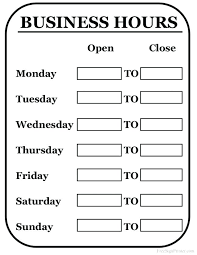 printable store hours sign store hours sign template word coffee of operation creative graphic