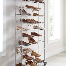 50 pair rolling shoe rack silver