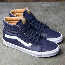 blue night white vans sk8 hi reissue premium leather men vans trainers whole