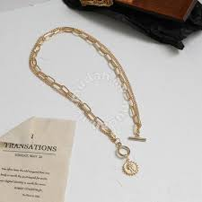 duo chain classic gold coin necklace
