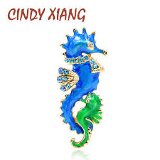 <b>CINDY XIANG New</b> Arrival Blue and Green <b>Color</b> Seahorse ...