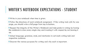 the writer s notebook english ii what is a writer s notebook the  5 writer s notebook expectations