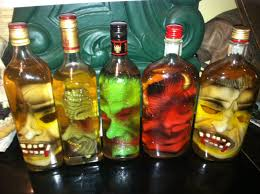 How To Decorate Empty Liquor Bottles take an empty liquior bottle buy a rubber mask roll the rubber 16