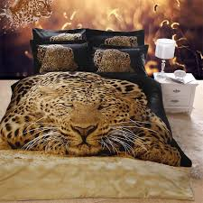 fashion cheetah 3d animal leopard print bedding set queen size cotton duvet cover bedlinen pillowcase bed in a bag 4 pieces kit