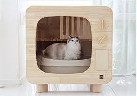 covered cat litter box furniture. Premium Natural Wood Cat Litter Box Furniture DIY Woody Hider TV Shape Covered