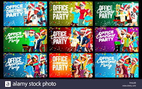 Office Christmas Party Banner Set Vector Celebrating Merry