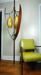 floor to ceiling lamp mid century modern teak leaf tulip tension pole lamp 3 light pendant