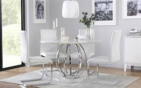 gallery savoy round white marble and chrome dining table with 4 perth white chairs