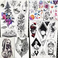 Modrá Borovice Lesní Dočasné Tetování Samolepky Akvarel Květina