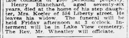 Henry Blanchard death notice. 1919 - Newspapers.com