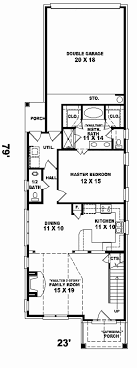 narrow one story house plans new enderby park narrow lot home plan 087d 0099