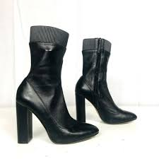 zara trafaluc woman black cowboy leather ankle boots size 7 ½ 38 nwob for