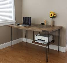 reclaimed oak modern desk this reclaimed oak desk features hairpin legs and a hanging printer