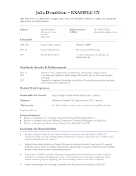 Free Curriculum Vitae Sample For Student Templates At