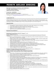 Sample Of Resume Objectives For Sales Position Ojt Business Students