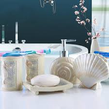 Bathroom Vanity Accessory Sets Aliexpresscom Buy 5pcs Bath Set Resin Bathroom Accessories Sea