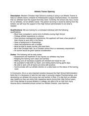job opening athletic trainer resume cover letter project vanguard athletic cover letter