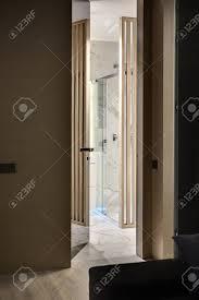 Eingang Zum Bad Im Inneren In Einem Modernen Stil Es Gibt Eine