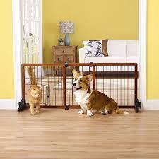 top paw free standing adjule wooden pet gate w small door new open box com