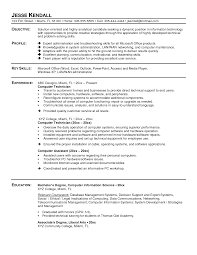 Resume Sample For Computer Technician Computer Technician Resume Sample Camelotarticles 8