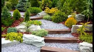 Garden, Terrific Colourful Rectangle Urban Gravel Garden Landscaping Ideas  Decorative Maixed Plants On The Stairs