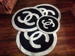 coco chanel black and grey round mats rugs