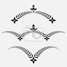 Fototapeta Vavřínový Věnec Tetování Nastavit Dekorativní Ornament S Křídly