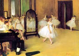 this is the very first of degas s innumerable scenes of ballet rs going through their paces in the studios and rehearsal