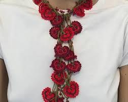Long crochet <b>necklace</b>, <b>beaded</b> crochet hair piece, red boho <b>seed</b> ...