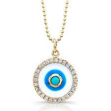 14k yellow gold enamel evil eye pendant with turquoise center