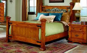 Pine Furniture Bedroom Pine Finish Western Classic Bedroom W Metal Accents