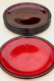 ruby red glass dinner buffet plates arcoroc co pattern w crate barrel label