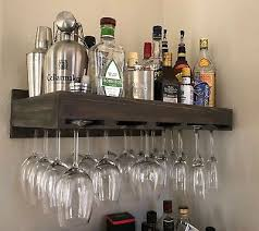 wine rack wall mounted hanging rustic glass holder wooden display shelf bar