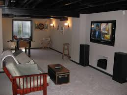 basement apartment design. cool small basement apartment decorating ideas for interiors: exposed beams and wall mount tv with design d