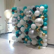 Home party decoration ideas purple and white balloon wall decoration. Blue And White Balloon Wall Balloon Wall Balloons Party Balloons