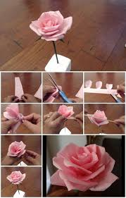 How To Make A Flower Out Of Paper Step By Step Diy Tissue Paper Rose Flower Step By Step Tutorial Usefuldiy Com