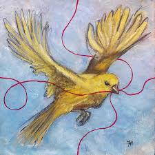 bird painting red thread yellow bird by honey hilliard