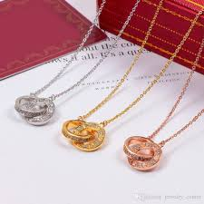 whole luxury jewelry love necklace silver gold rose gold plated double cz diamond ring pendant chain necklaces for women gold pendant necklace heart