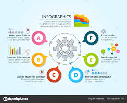 Modern Business Infographics With Radial Shapes Template
