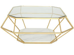 modern coffee table with a glass top available in gold plating or stainless steel
