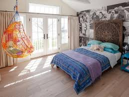 wood floor bedroom. Beautiful Wood HHBN207_EclecticBedroomPhotoWallpaperOrangeChair_4x3 And Wood Floor Bedroom O