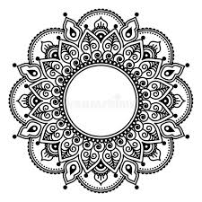 Henna Pattern Simple Mehndi Lace Indian Henna Tattoo Round Design Or Pattern Stock