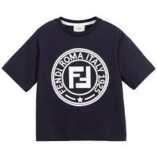 Fendi Designer Shirt Boys Blue Ff Logo T Shirt