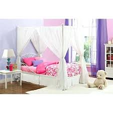 Twin Wood Canopy Bed Silver Cover – justforfunsies.co