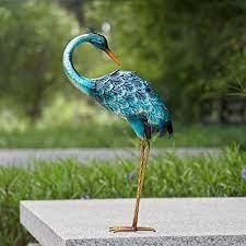 chisheen crane garden statue metal