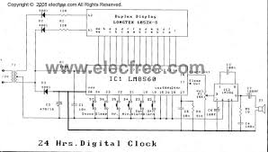 24hr digital time clock with alarm circuit