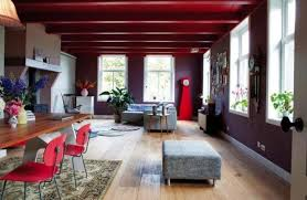 eclectic style furniture. salvaged wood and contemporary furniture modern interior design in eclectic style with various textures red accents
